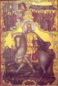 Στάθηκε τότε ὁ Ἅγιος ἐνώπιόν του, ἔβαλε τό χέρι στόν λαιμό του καί ἔβγαλε τήν βελόνα».