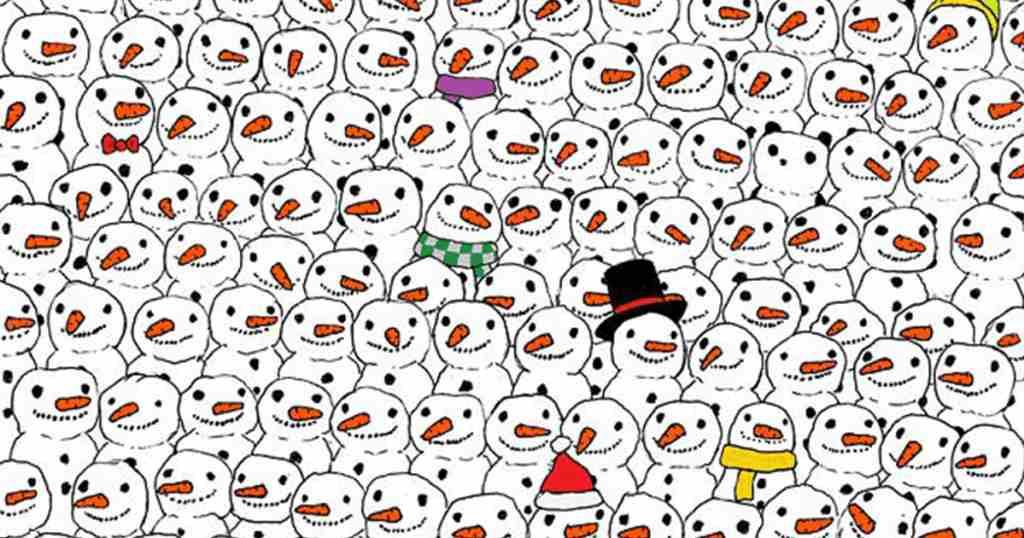 Μπορείτε να βρείτε το κρυμμένο Πάντα ανάμεσα στους χιονάνθρωπους;