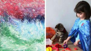 Read more about the article Αυτό το 6-χρονο κοριτσάκι με αυτισμό και η γάτα της, δημιουργούν συναρπαστικούς πίνακες ζωγραφικής!Μέχρι και η Αντζελίνα Τζολί παρήγγειλε το δικό της