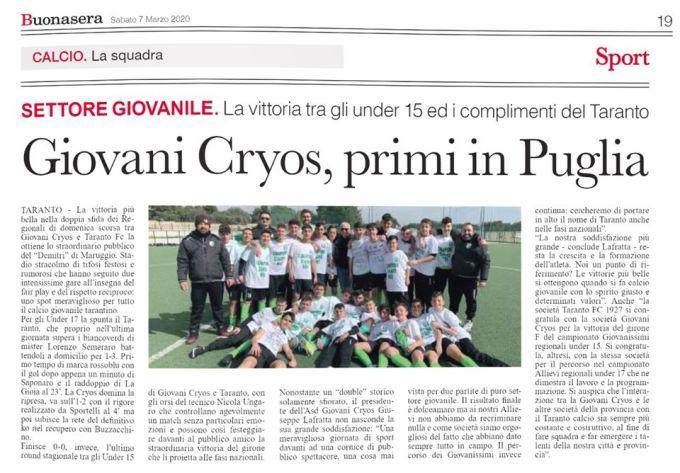 Albo d'oro Cryos primi in Puglia