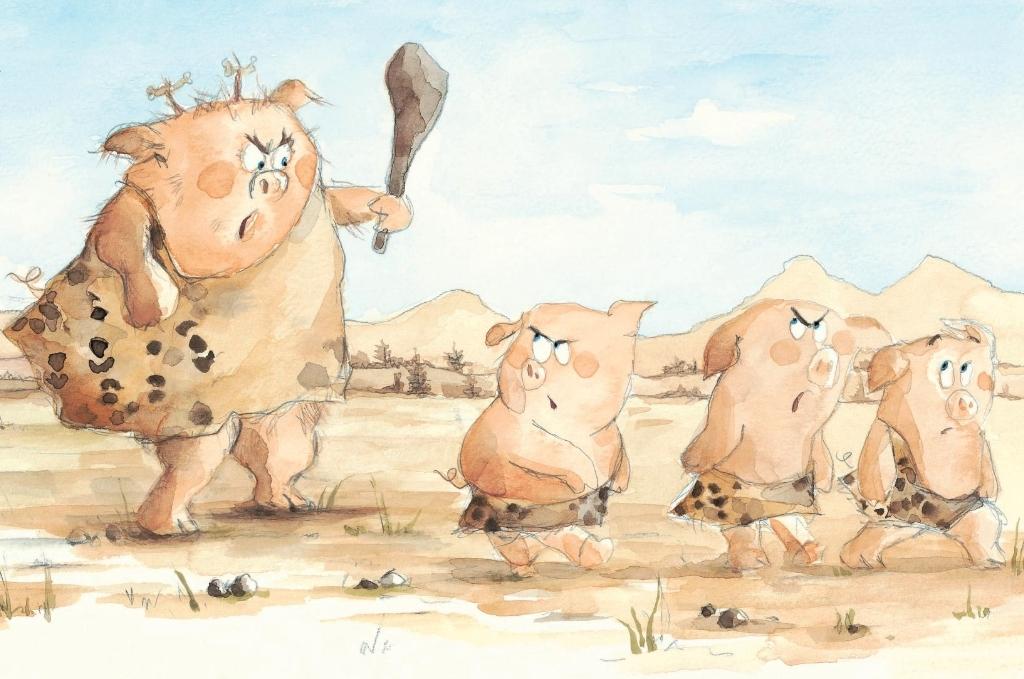 Libri di favole: I tre porcellini delle caverne