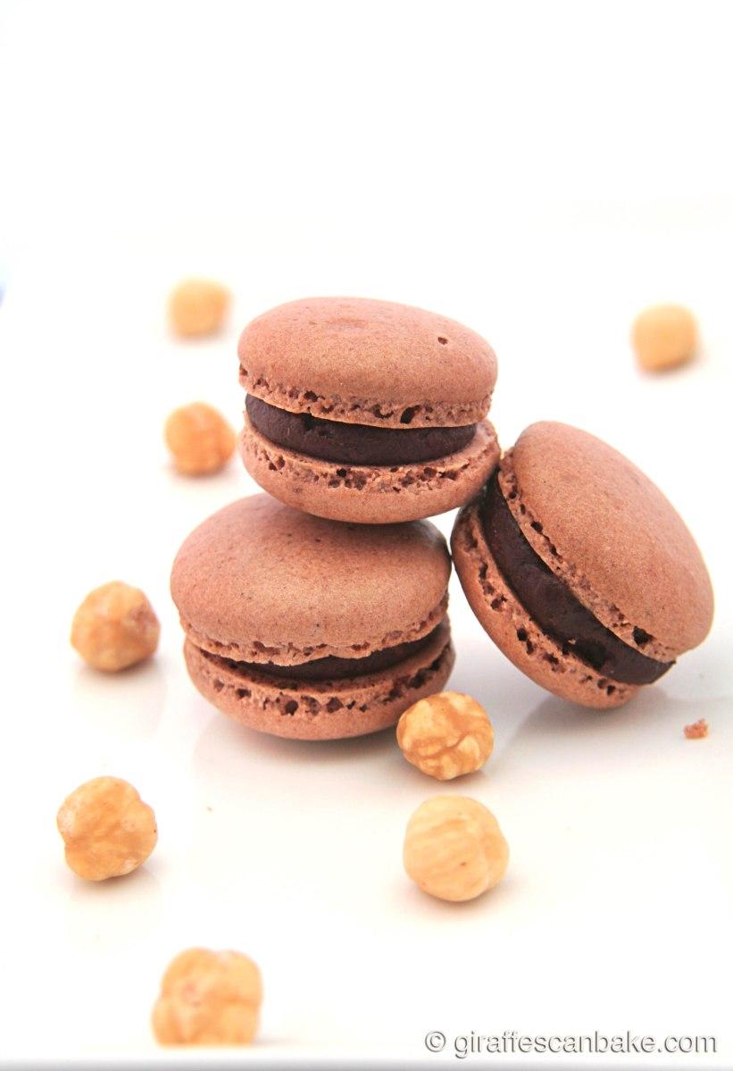Chocolate and Hazelnut Macarons