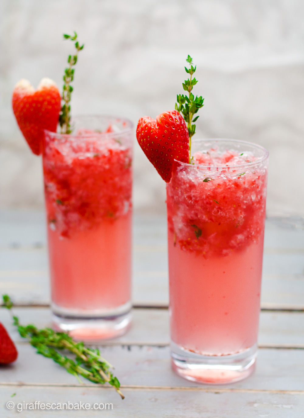 Strawberry And Thyme Slushie Cocktails Giraffes Can Bake