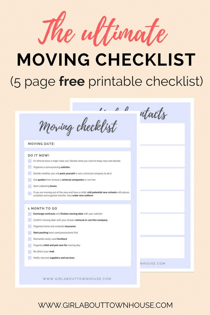 Ultimate Moving Checklist Free Printable   Girl About Townhouse