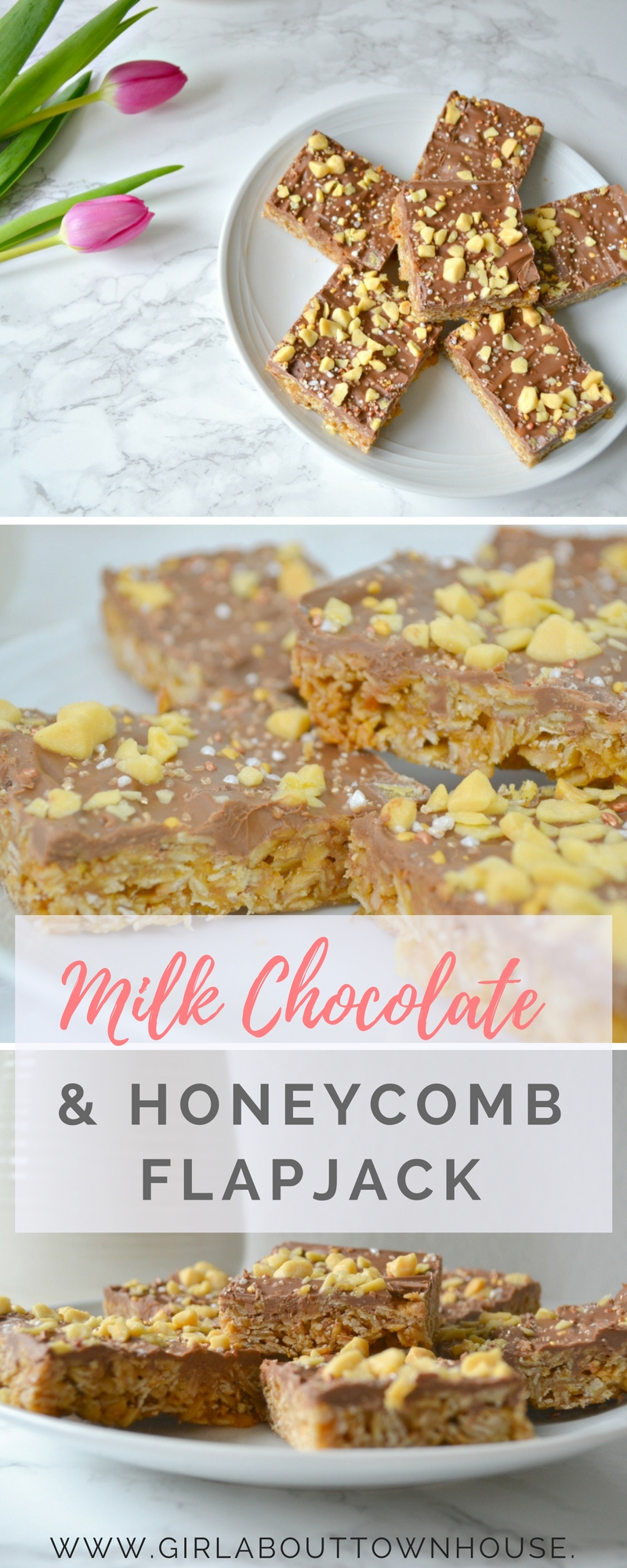 Milk chocolate & honeycomb flapjack recipe. A super easy and delicious recipe for soft, chewy flapjack made with honey.