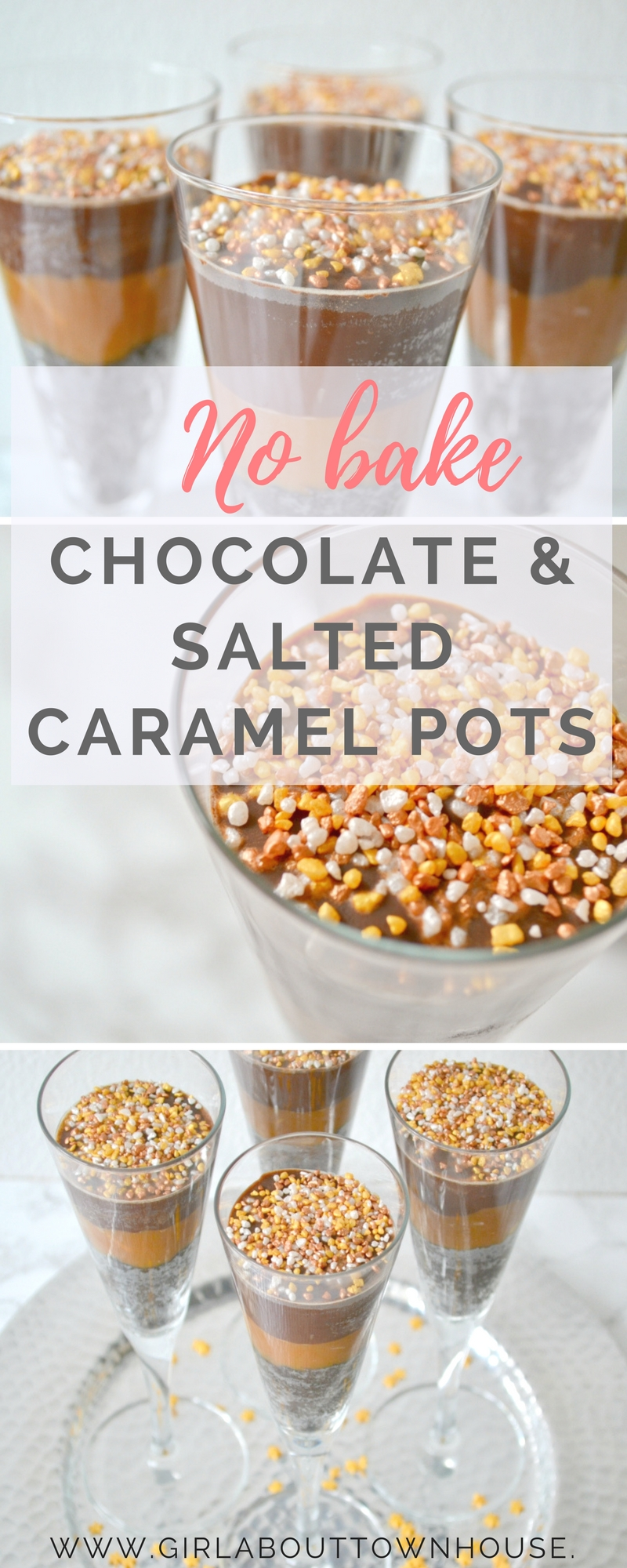 One of my favourite no bake desserts! These Chocolate and salted caramel pots such a simple and quick recipe. Just perfect for when your want a show stopping dessert without too much effort.