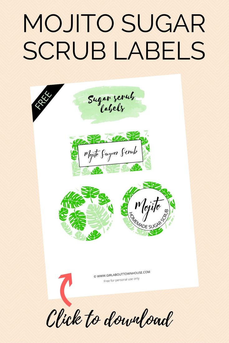 DIY mojito sugar scrub recipe free printable labels