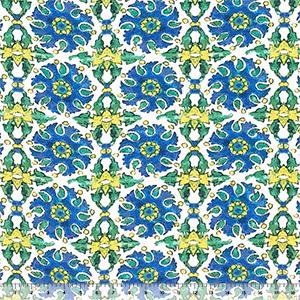 blue yellow watercolor tile cotton jersey spandex blend knit fabric