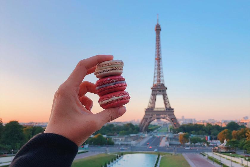 Sunrise overlooking Eiffel tower and French Macarons