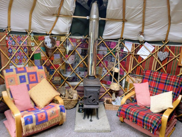 glamping in a yurt seating
