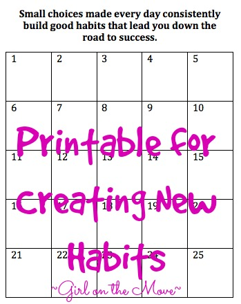 Printable for creating new habits that lead to success