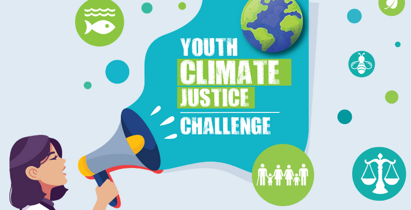 girl with loudspeaker saying youth climate justice challenge