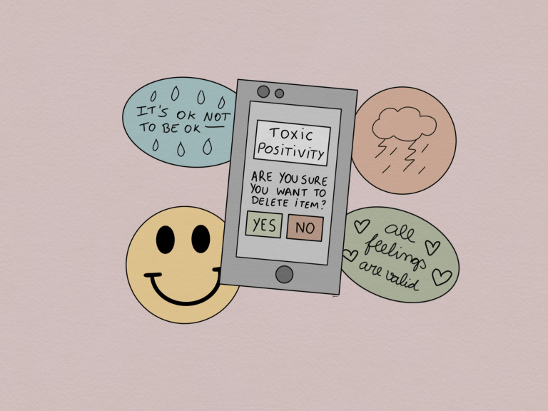 Illustration of phone with the words Toxic Positivity