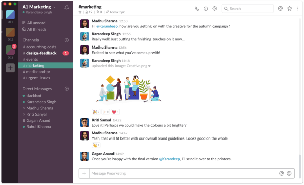 Ejemplo de Slack en Windows