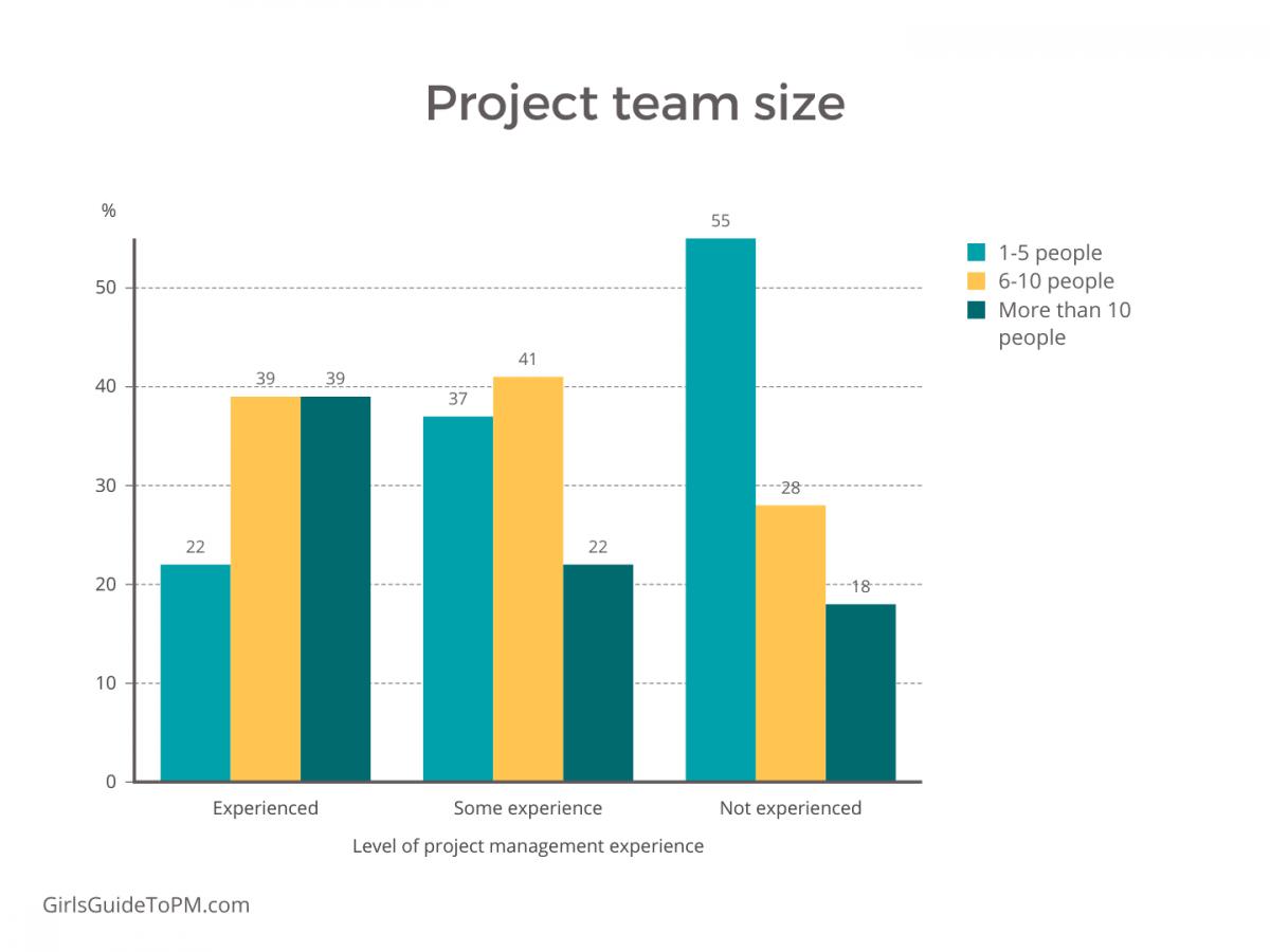 gráfico del tamaño del equipo del proyecto