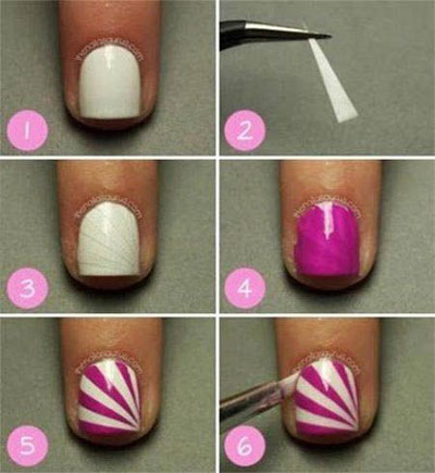 Nail Art Designs For Beginners Striping Tape Method With Tooth Pick Or Thin Tipped Brush