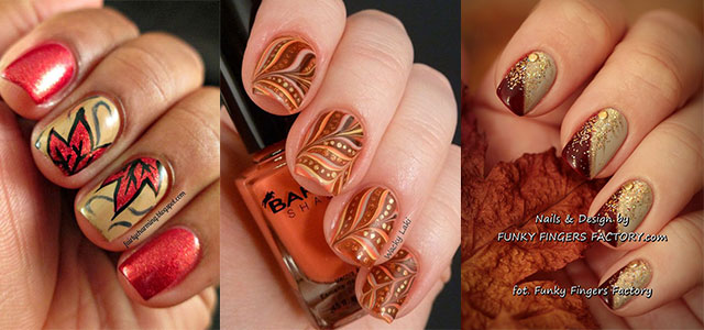 30 Autumn Tree Leaf Nail Art Designs Ideas