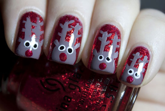 Cute Snow In Christmas Nails