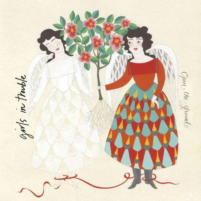 image of Open the Ground album cover: image of a winged woman in a colorful dress holding an uprooted flowering tree out to a winged woman dressed in white.