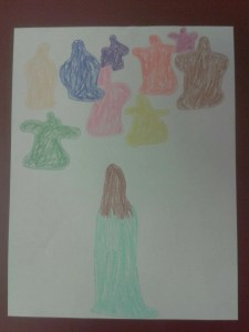 Crayon drawing of back of Ruth looking at loose shapes of people in various colors