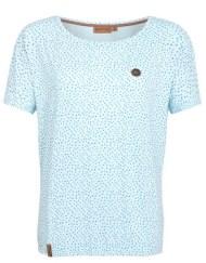 Lichtblauwe top van Naketano met wijde hals en korte mouw