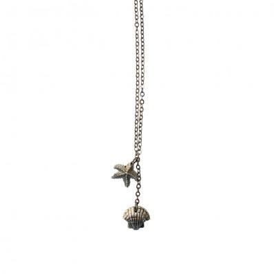 Lange wit bronzen ketting met schelp en zeester bedels