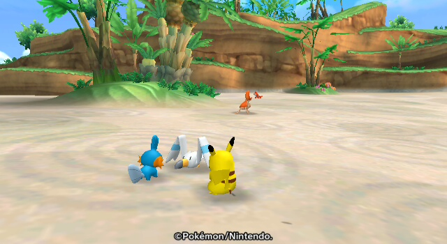 Pikachu chills with some water types