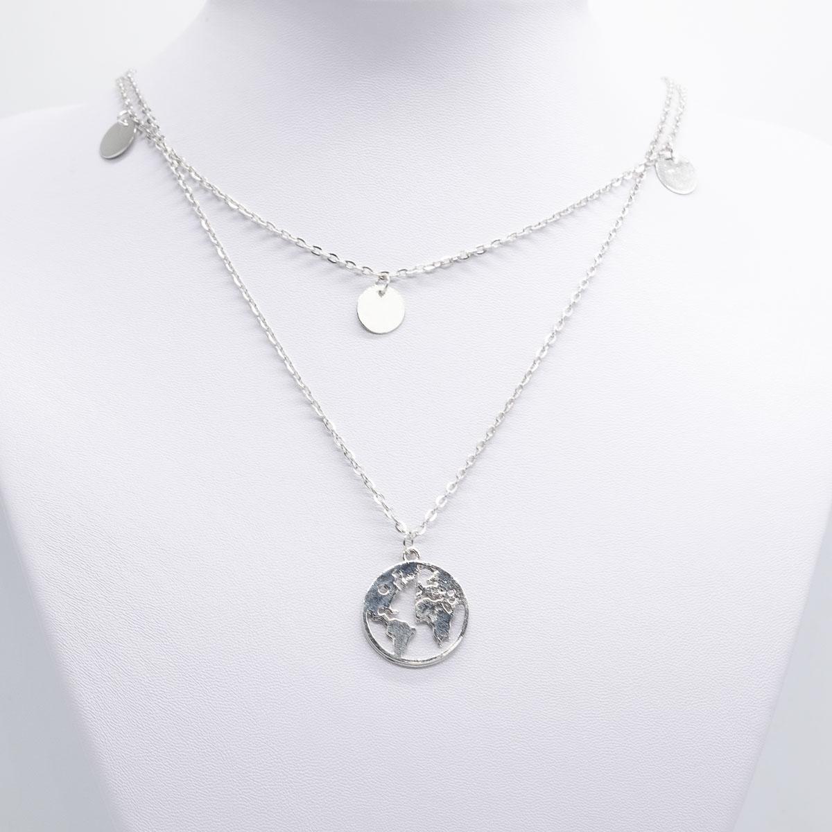 KET-017 zilver wereldkaart ketting boho