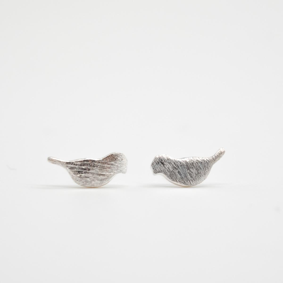 ORS-005 geborsteld metaal oorknopjes vogelje