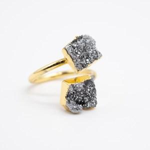 dubbele zwarte agaat ring kopen goud