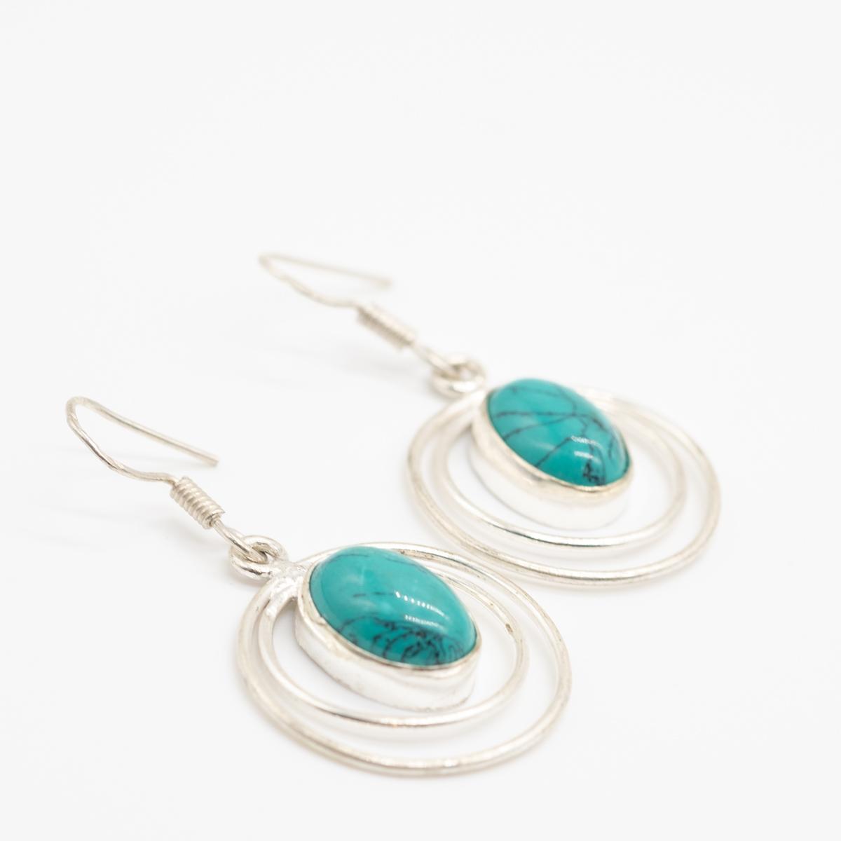 ORB-029 zilver turkoois oorbellen