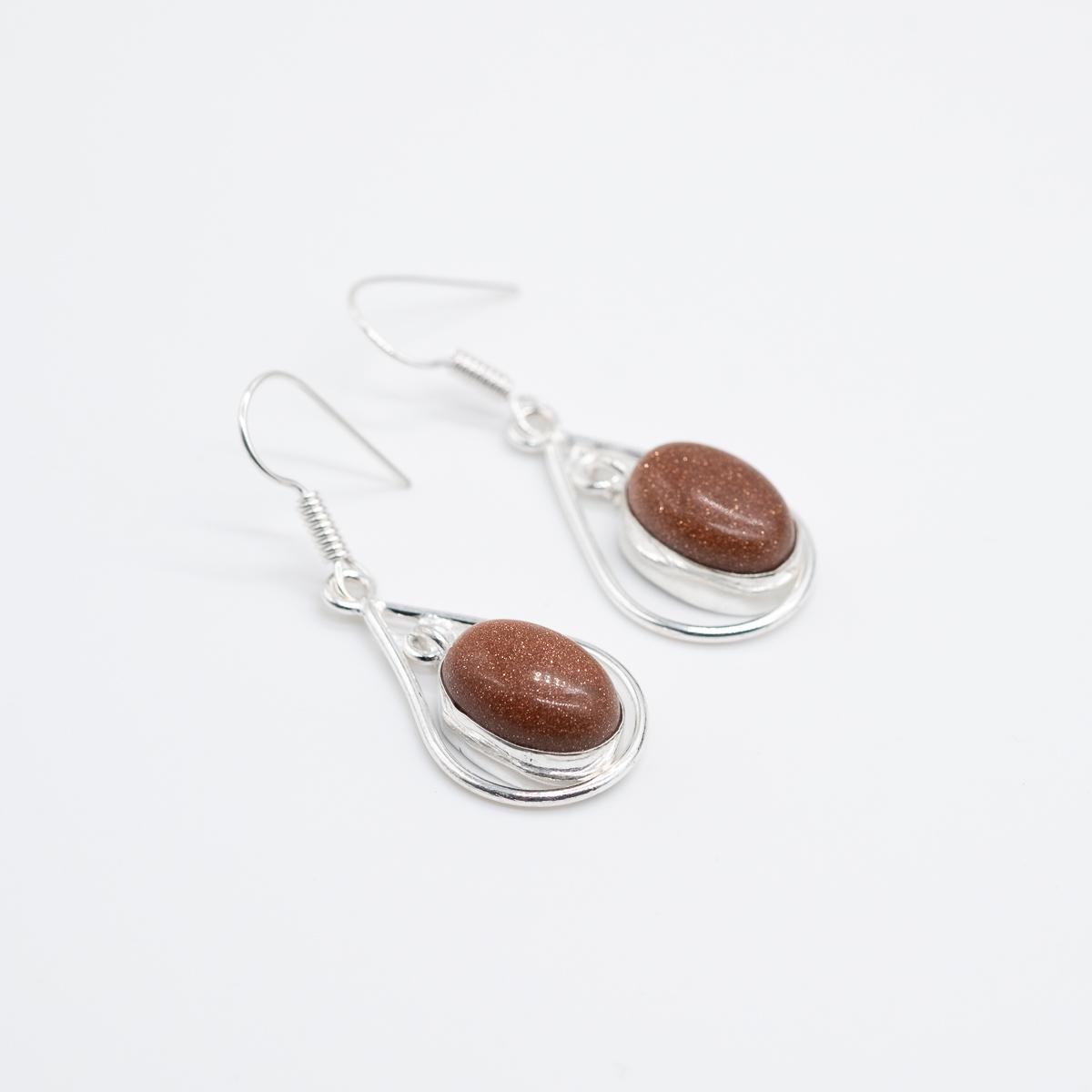 ORB-030 boho goudsteen zilver oorbellen