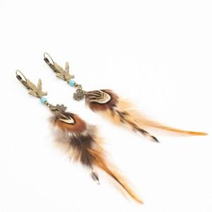 Lange oorbellen met veer en turkoois bohemian kopen
