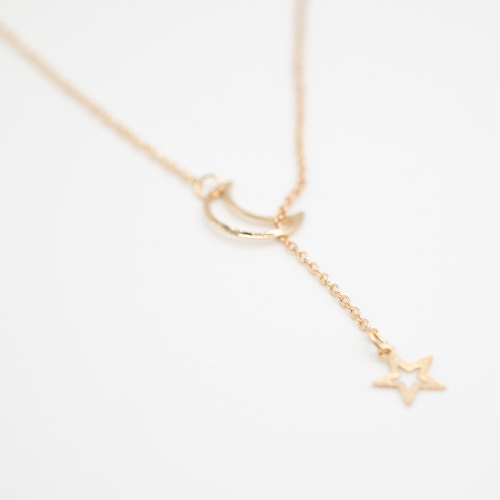 KET-024 gouden boho ketting maan ster