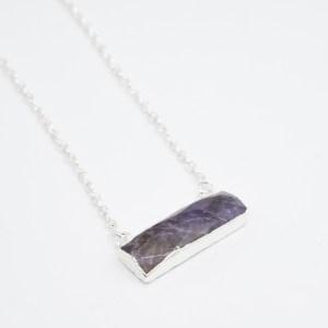 handgemaakte ketting amethist zilver