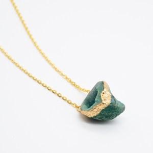 handgemaakte ketting met groene agaat goud kopen