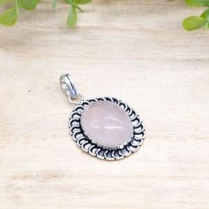 rozenkwarts hanger zilver kopen online webshop