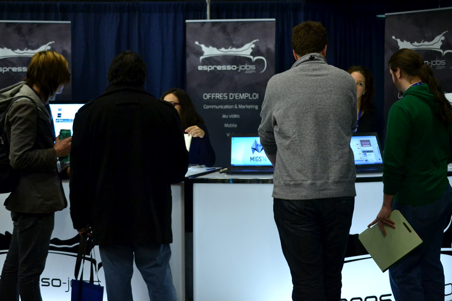 Applicants at the Espresso Jobs booth during MIGS 2014 © Catherine Smith-Desbiens / Girls on Games