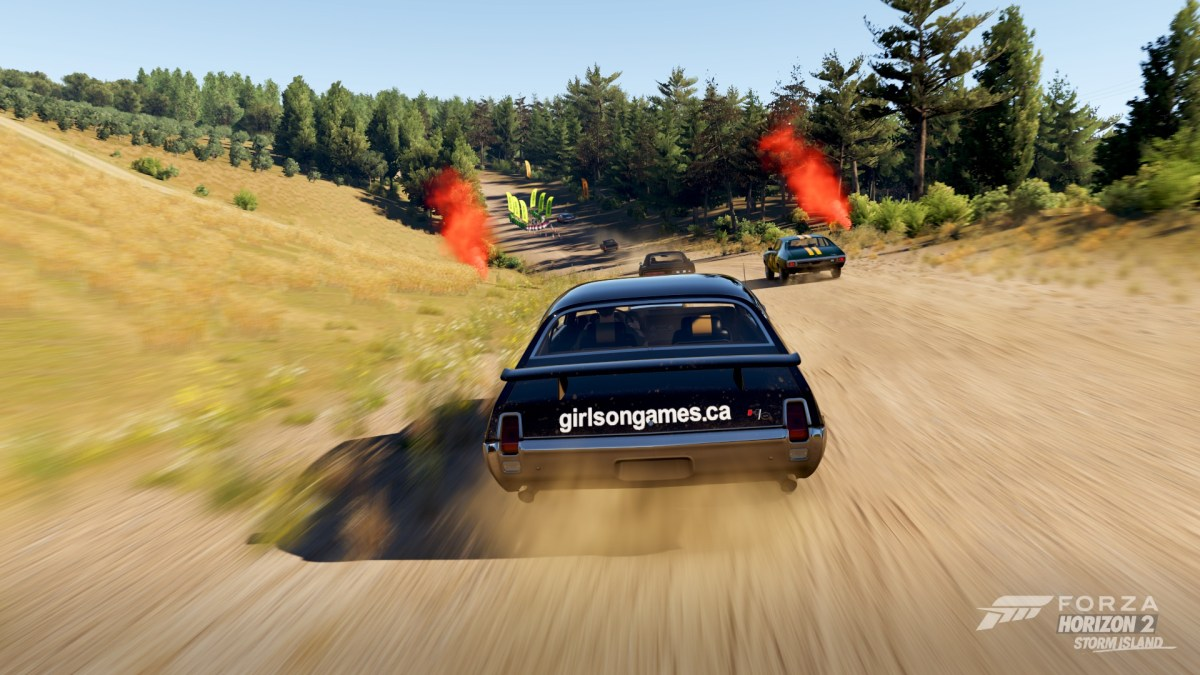 Racing through the forest, avoiding obstacles