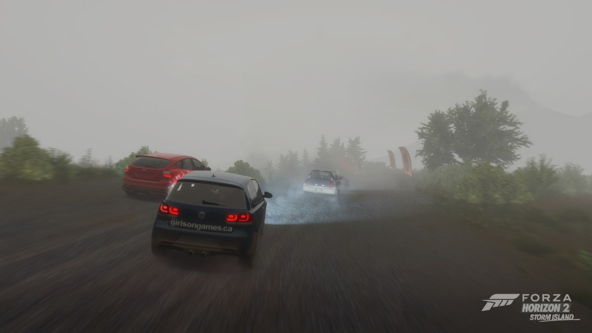 Racing through thick fog in FH2 Storm Island