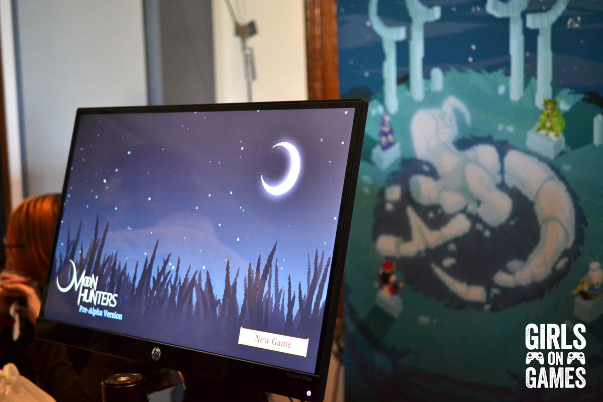 Leah and Catherine tried the Moon Hunter demo at MIGF. (Photo © Catherine Smith-Desbiens / Girls on Games)