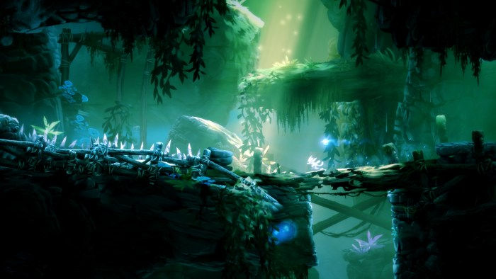 Screen capture from the Sunken Glades area in Ori and the Blind Forest