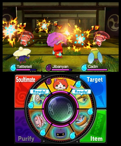A battle in Yo-Kai Watch