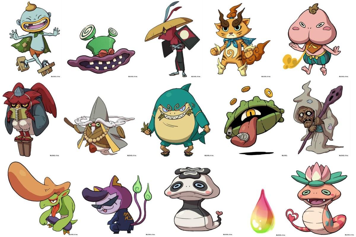 A bunch of Yo-Kai you will probably meet and battle in Yo-Kai Watch