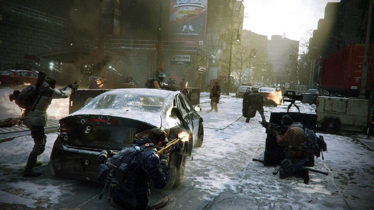 Tom Clancy's The Division - Screenshot of team street encounter - from Ubisoft