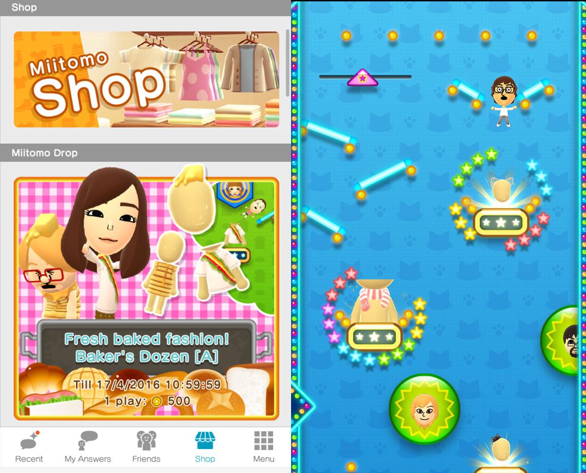 Miitomo Screenshots: Shop menu and Miitomo Drop game