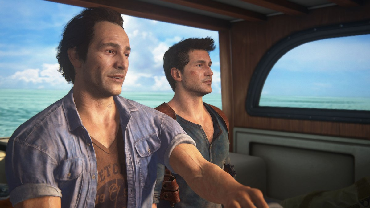 On a boat with Sam and Nathan from Uncharted 4: A Thief's End. Image from Sony