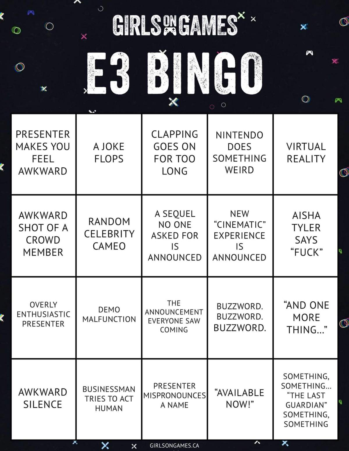 Girls on Games' E3 Bingo Card