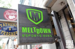 Meltdown eSports Bar Signage on St. Denis street in Montreal. Photo © Girls on Games / Leah Jewer