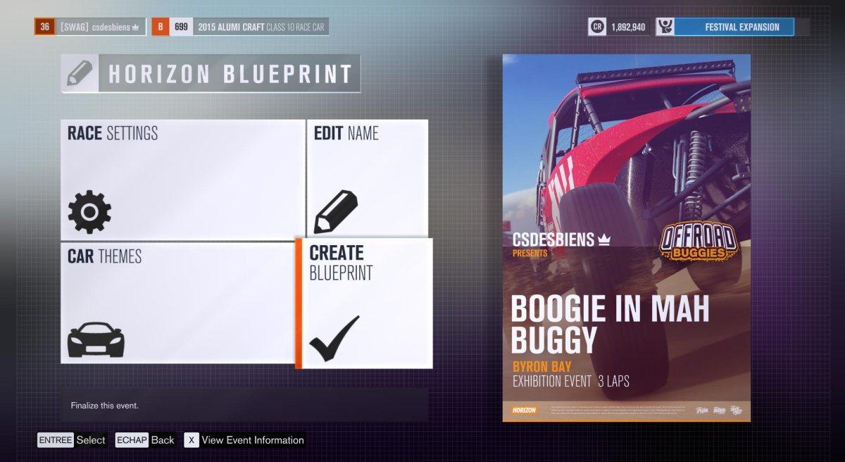 Blueprint an event in Forza Horizon 3